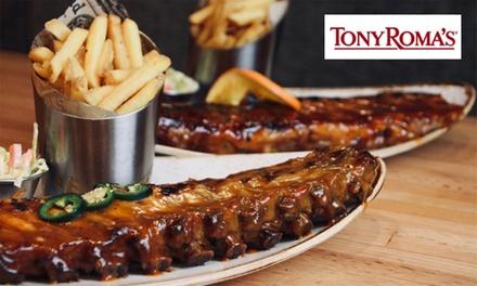 Menú para dos con entrante, principales y bebidas en Tony Roma's (hasta 51% de descuento)