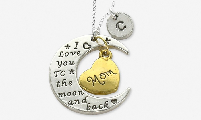 i love you to the moon and back mothers charm pendant