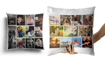 Personalised Photo Collage and Message Cushion Cover: One ($8) or Two ($15) (Don't Pay up to $62.52)
