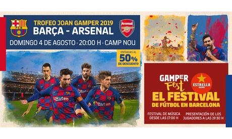 Paga 1,95 € y obtén un descuento de un 50% en la compra de dos entradas para el partido de fútbol Barça - Arsenal