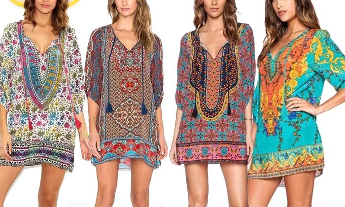 3127a81ae3a5 Bohemian-Style Kaftan Dress