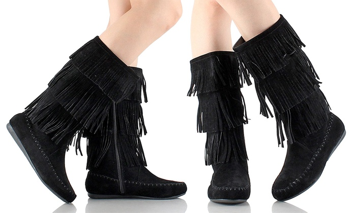 Gilbin's Women's 3-Layer Fringe Boots (Size 7.5) | Groupon