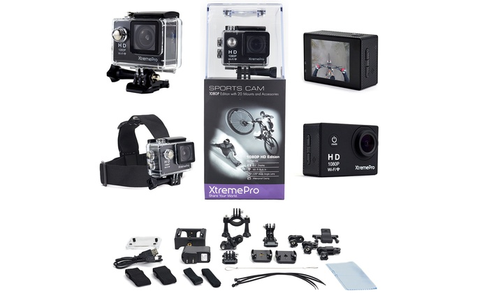 XtremePro HD 1080p Wifi and 720p Sports Camera Bundle with Mounts & Accessories