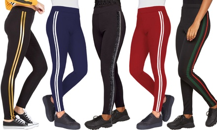 Womens Side Stripe Leggings with Contrast Detail