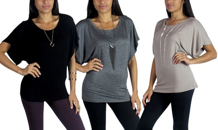 3-Pack of Free to Live Dolman Tops