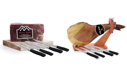 Différents jambons espagnols Monte Regio + set de 4 couteaux Japonais Quttin, dès 32,99 € (jusqu'à 71% de réduction)