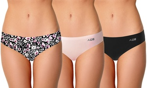 AQS Women's Seamless Thongs in Floral and Basics (3-Pack)