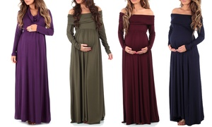 Women's Over-the-Shoulder Maxi Maternity Dress