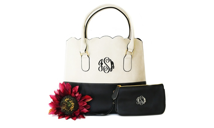 Two-Toned Monogrammed Purse, Wristlet, or Both from KraftyChix (Up to 50% Off)