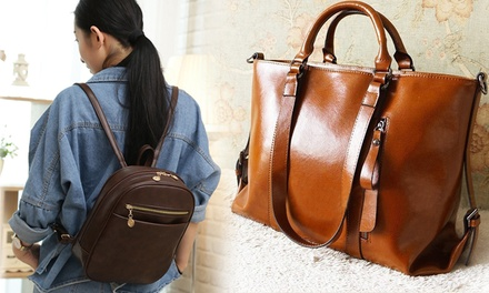 $22.90 for a PU Leather Backpack with Adjustable Strap (worth $44.90). 3-Way Cowhide Leather Handbag Available