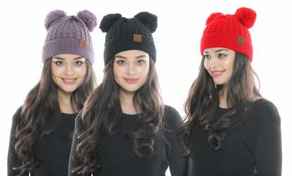 a3ceec05ca9 Shop Groupon CC CHIC Women s Ribbed Knitted Double Pom Pom Beanie Hat