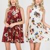 Women's Velvet Floral Mock-Neck Dress