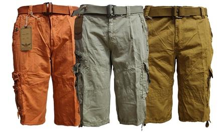 Men's Belted Lee Hanton Cotton Cargo Shorts