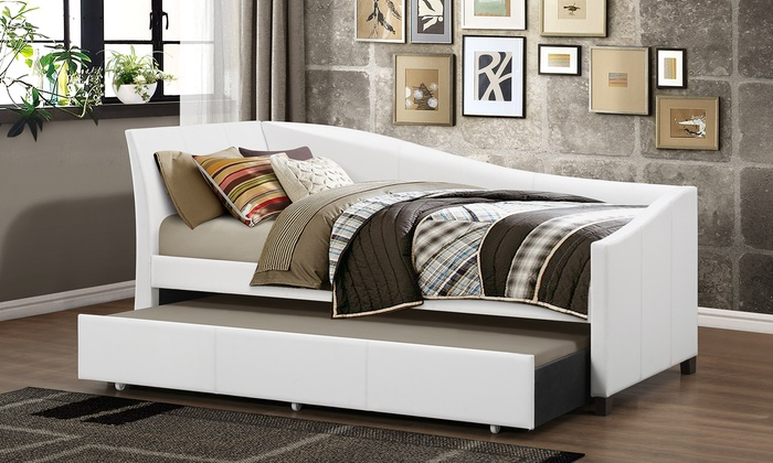 Baxton Studio Vera Faux Leather Sofa Twin Bed
