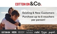 $5 for $30 Credit Online at Cotton On, Supré, Cotton On Body, Typo, Cotton On Kids, Rubi & Factorie (Min Spend $90)