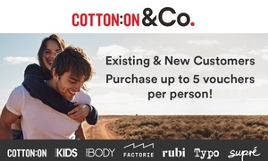 Cotton On Group: $5 for $30 Credit Online at Cotton On, Supré, Cotton On Body, Typo, Cotton On Kids, Rubi & Factorie (Min Spend $90)