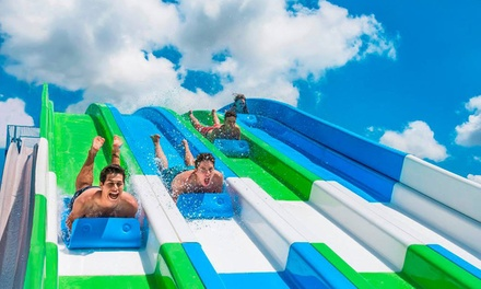 Single-Day Admission with Zip Line Passes and Soft Drinks for Two or Four at The Beach Waterpark (Up to 50% Off)
