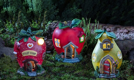 One or Three Solar LED Light-Up Fairy Houses