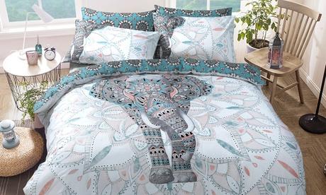 Set de funda nórdica con diseño de elefante y mandala
