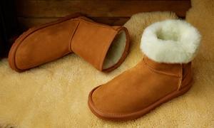 (Mode)  Boots en daim fourrées laine mérinos -78% réduction