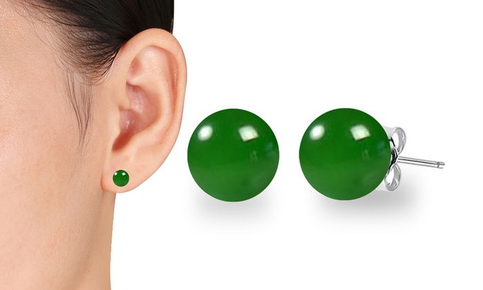Silver Plated Real Green Onyx Earrings NEW NEW ITEM Free Shipping on All Items