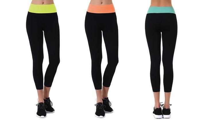 Sofra Women's Color-Block High-Waist Capri Leggings