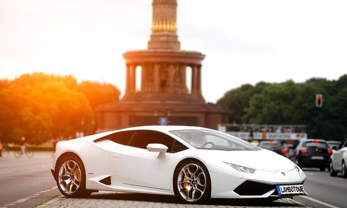 Lambo Tour - Mehrere Standorte: Lamborghini Huracan fahren als 30-min. City-Tour oder 60-min. Sunset-Tour für 1 Person mit Lambo Tour (bis 37% sparen*)