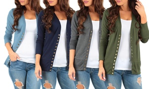 Women's Snap Button Cardigan. Plus Sizes Available.