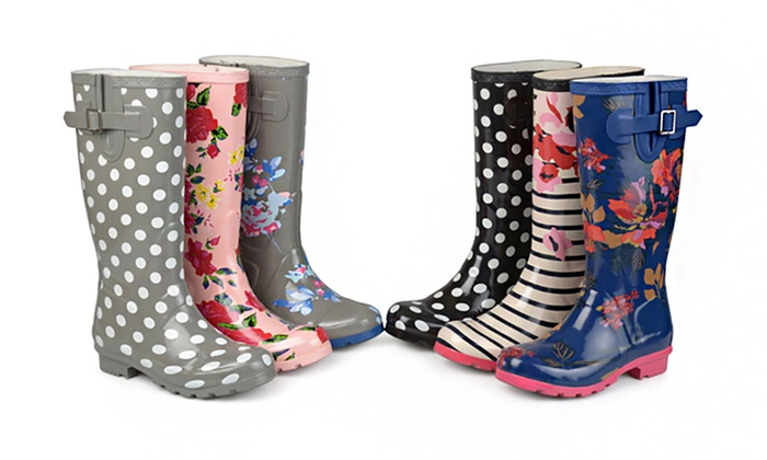 Journee Collection Women's Patterned Rubber Rain Boots Groupon New Patterned Rain Boots