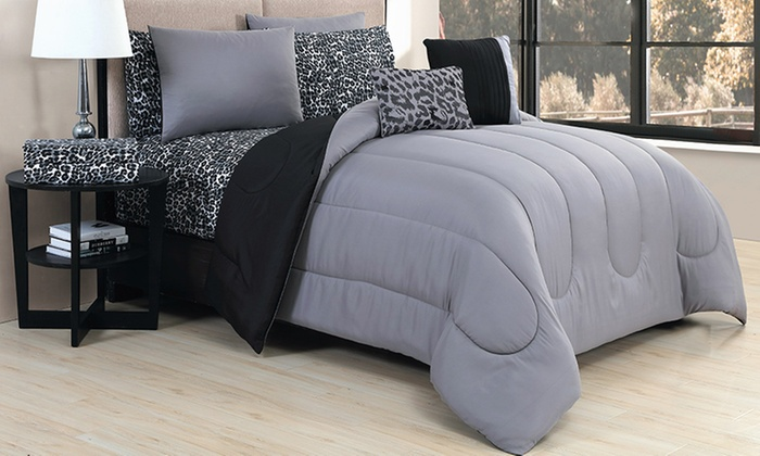 Bed in a Bag Sets (9-Piece):  Solid Bed in a Bag Sets with Printed Sheets (9-piece)