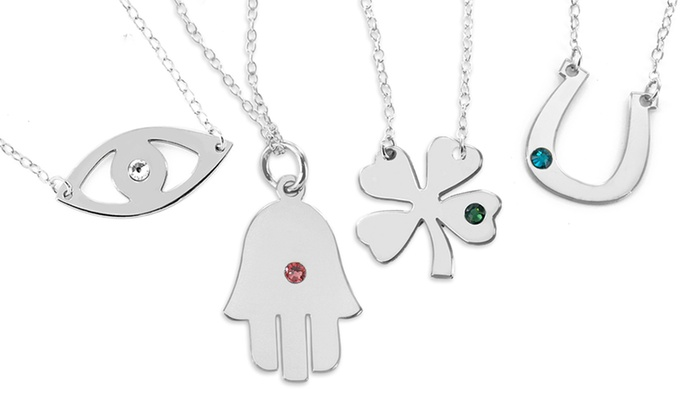 Monogram Online: $5 for Silver Personalized Lucky-Charm Necklace from Monogram Online ($69 Value)