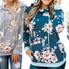Women's Floral Hoodie with Drawstrings. Plus Sizes Available.