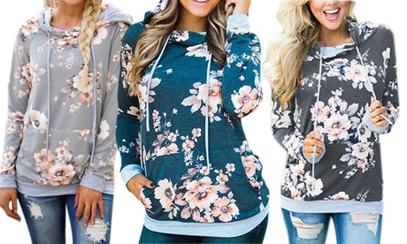 Women's Floral Hoodie with Drawstrings