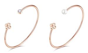 Bracelet bangle plaqué or rose Swarovski®