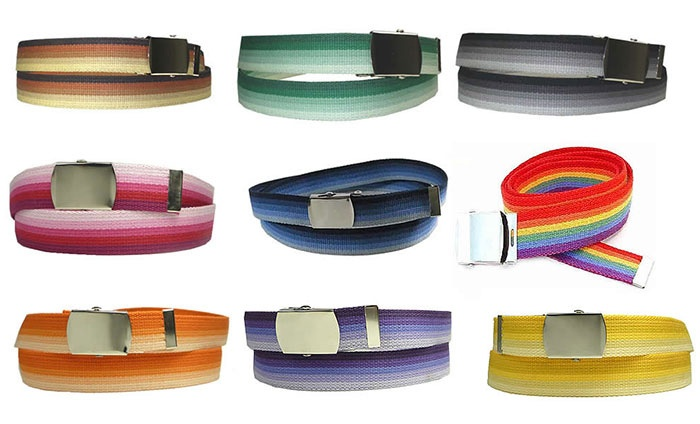 Striped Canvas Web Belt for Men and Women