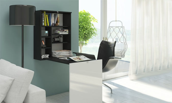kompakter schreibtisch mit regal groupon goods. Black Bedroom Furniture Sets. Home Design Ideas