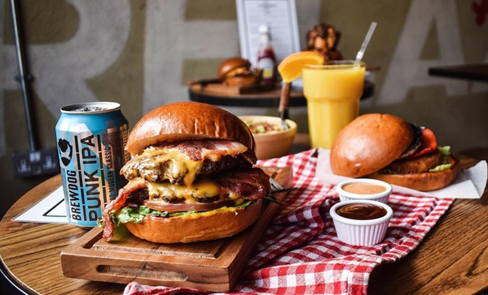 Burger Meal with Milkshake or Soft Drink, or Beer or Cocktail for Up to Six at Kick And Munch (Up to 54% Off)