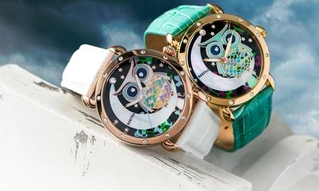 Reloj Mujer Bertha Ashley con dial de nácar y correa de cuero