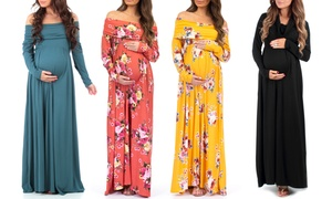 Women's Cowl Neck or Over-the-Shoulder Maternity Dress
