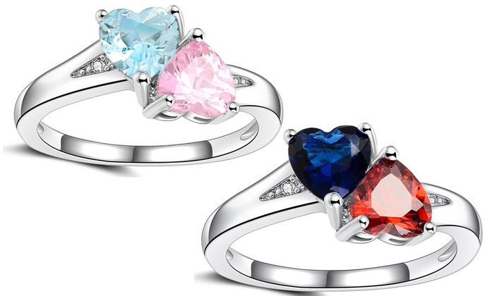 1c72395ee3d2a Up To 21% Off on Dual Crystal Heart Ring | Groupon Goods