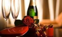 Menu en 5 services, avec une bouteille de vin de 75cl et une rose rouge pour 2 à 49,20 € chez Aux délices de Benjamin