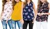 Riah Fashion Women's Print Notch Neck Sleeveless Blouse