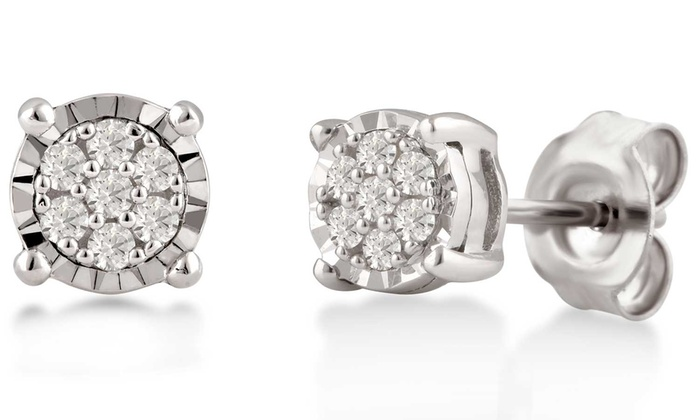 DiamondMuse 1//10 Carat Diamond Stud Earring In Sterling Silver I-J Color, I3 Clarity