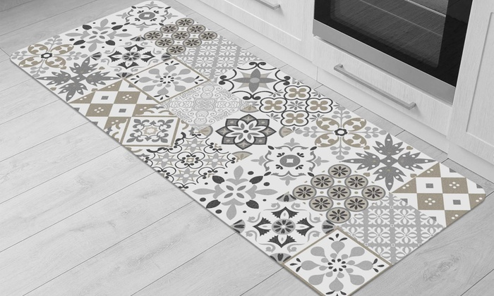 Tapis de cuisine carreau ciment | Groupon
