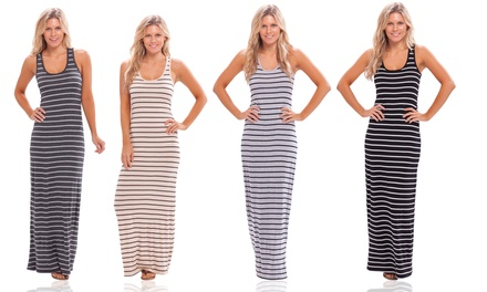 Nautical Stripe Tank Maxi Dresses