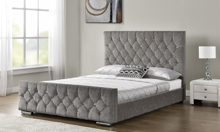 Velvet or chenille bed mattress groupon goods Bed and mattress deals