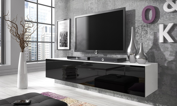 meuble tv flottant laqu groupon. Black Bedroom Furniture Sets. Home Design Ideas