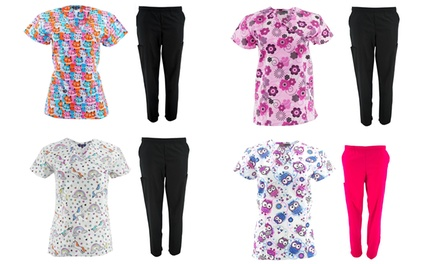 MetroScrubs Women's Novelty Print Top and Bottom Scrub Sets. Plus Sizes Available.