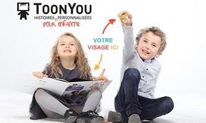 Toonyou: Livre personnalisé pour enfants avec visages+10 dessins animés et 5 marionnettes sur Toonyou à 19,99€ (50% de réduction)