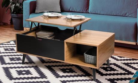 Table basse Fjola en bois avec plateau relevable et rangement intérieur